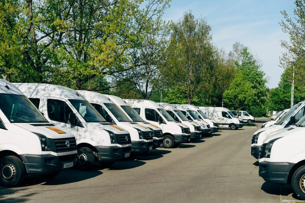 A row of minibuses