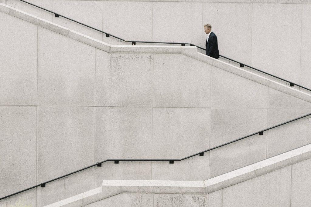 Joshua Ness walking stairs